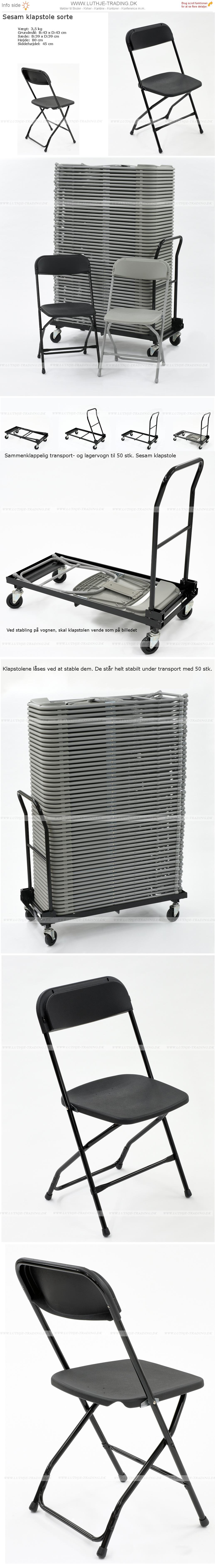 Sorte billige klapstole til den daglige skolebrug