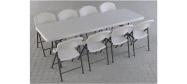 klapstole med klapbord 245 cm.