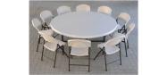 Klapstole med rund Ø182 cm bord