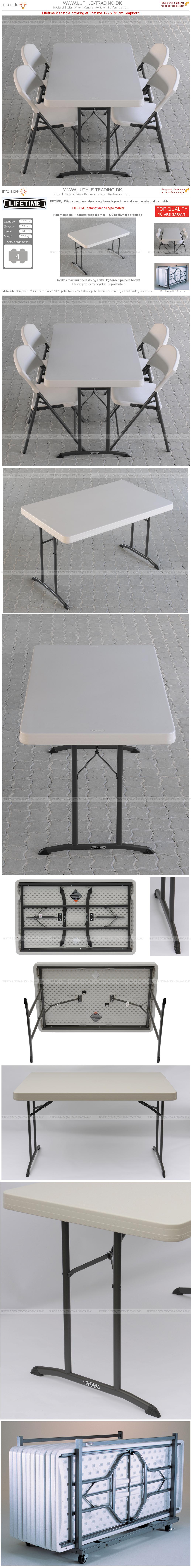 Klapstole med klapbord 122 x 76 cm