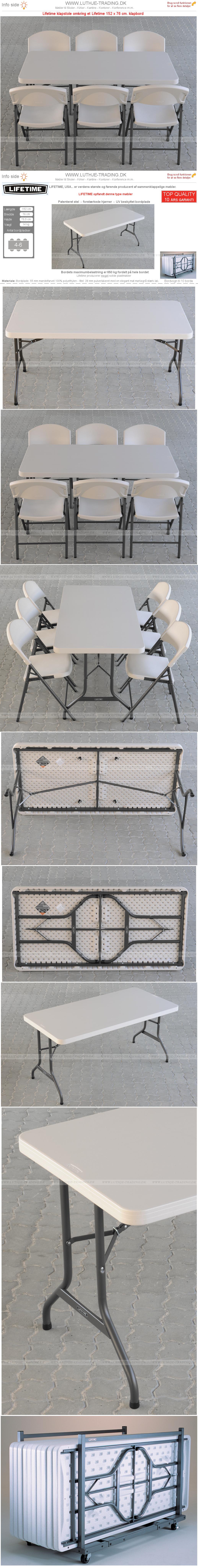 Klapstole med klapbord 152 x 76 cm