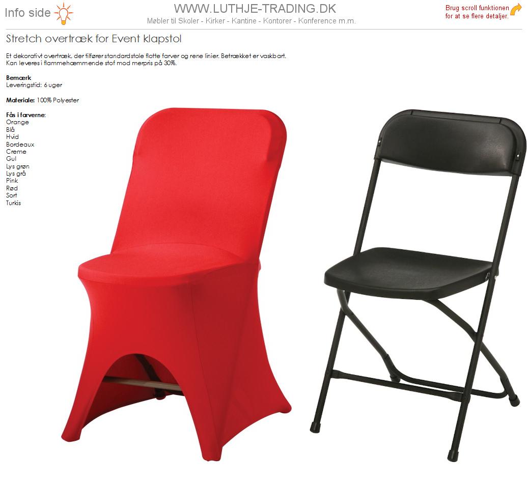 Rød overtræk til Event klapstole